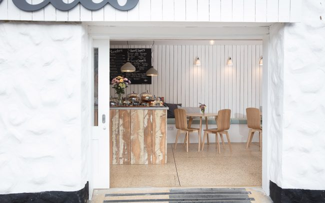Sliding doors allow the interior and exterior to merge at She Sells Mevagissey