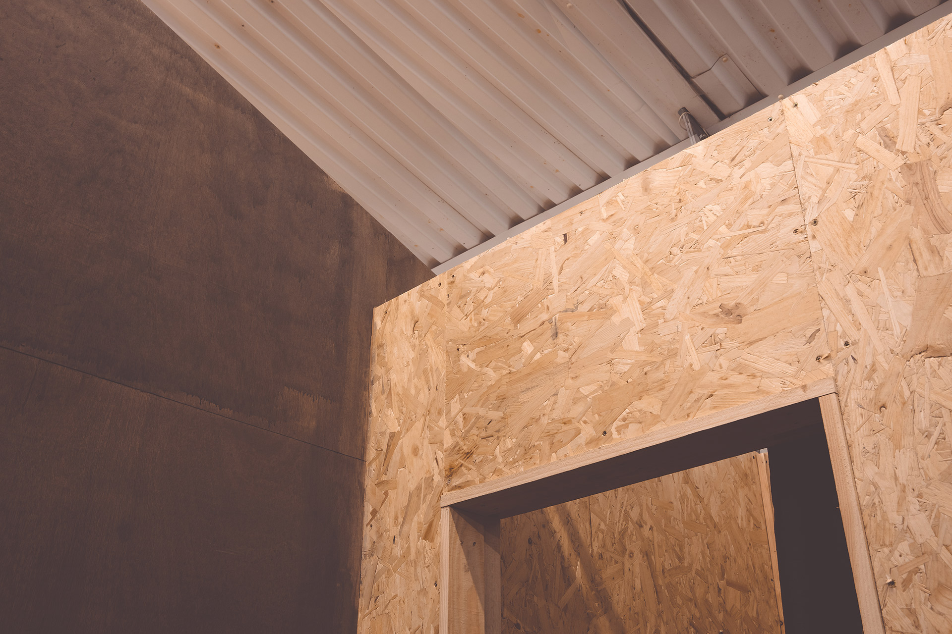 OSB and timber detail fitting rooms