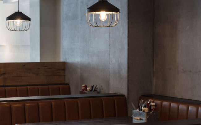 leather booth seating at the bar and restaurant
