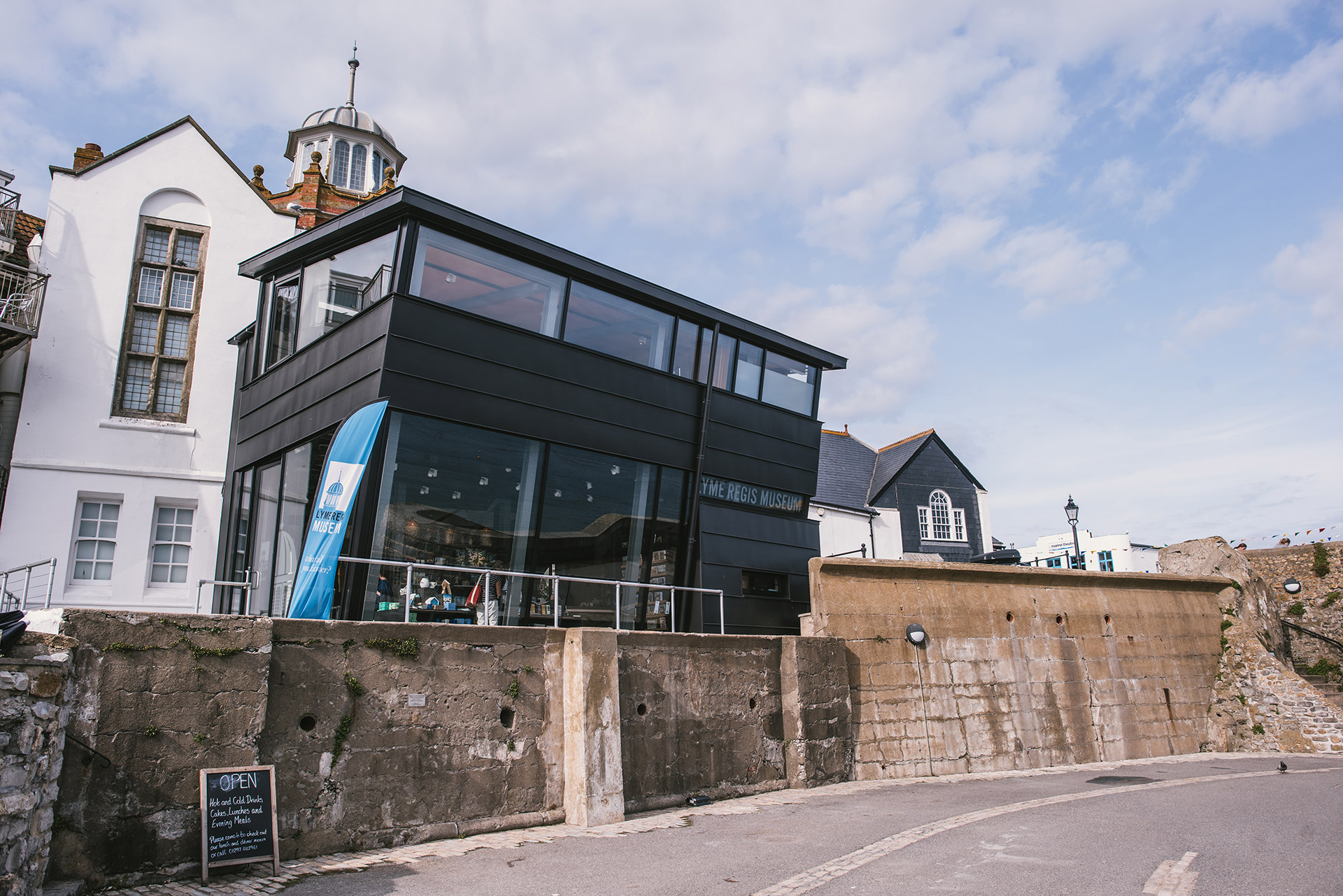 zinc and glass exterior for Lyme Regis Museum in Devon