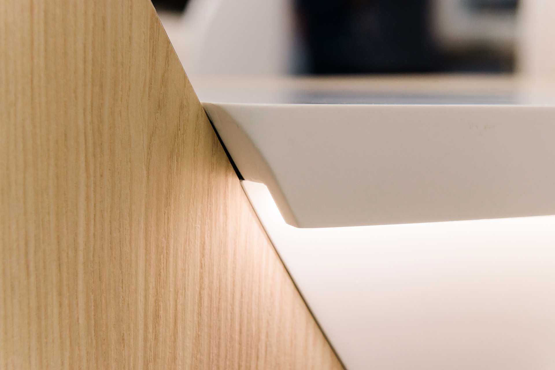 Recessed LED in reception desk as Royal Brompton Hospital