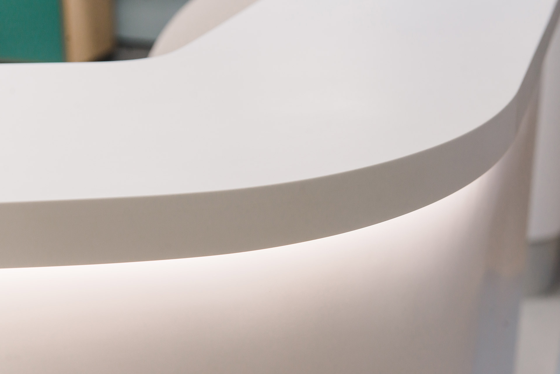 curved corian reception desk detail at Royal Brompton Hospital