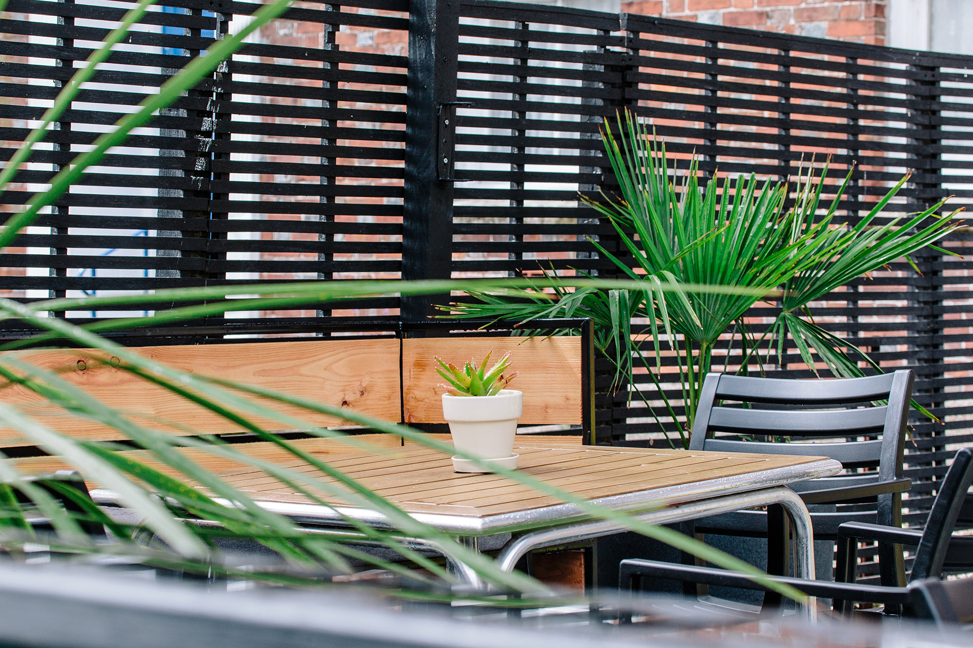 bespoke seating are in alfresco dining area